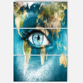 Planet Earth and Blue Eye - Abstract Digital Art Glossy Metal Wall Art