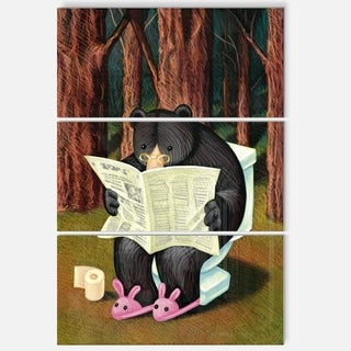 Bear in the Woods - Animal Digital Art Glossy Metal Wall Art