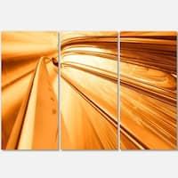 Fractal 3D Brown Stripes - Abstract Art Glossy Metal Wall Art