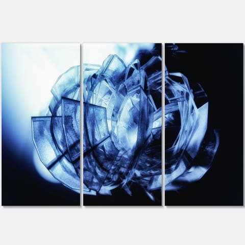 Fractal 3D Blue Glass Pattern - Abstract Art Glossy Metal Wall Art - 36 in. wide x 28 in. high - 3 panels