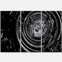 Fractal 3D Black Whirlwind - Abstract Art Glossy Metal Wall Art