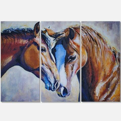 Brown Amorous Horses - Animal Painting Glossy Metal Wall Art
