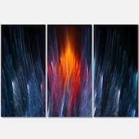 Fractal Fire in Light Blue - Abstract Art Glossy Metal Wall Art