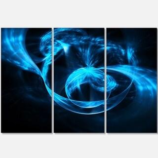 Fractal 3D Circled Blue Waves - Abstract Art Glossy Metal Wall Art