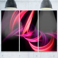 Fractal Purple Connected Stripes - Abstract Art Glossy Metal Wall Art