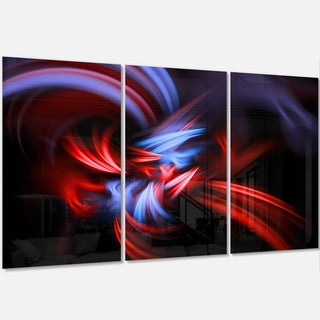 Fractal Red Connected Stripes - Abstract Art Glossy Metal Wall Art
