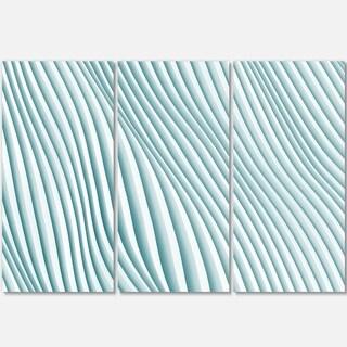 Fractal Small Blue 3D Waves - Abstract Art Glossy Metal Wall Art