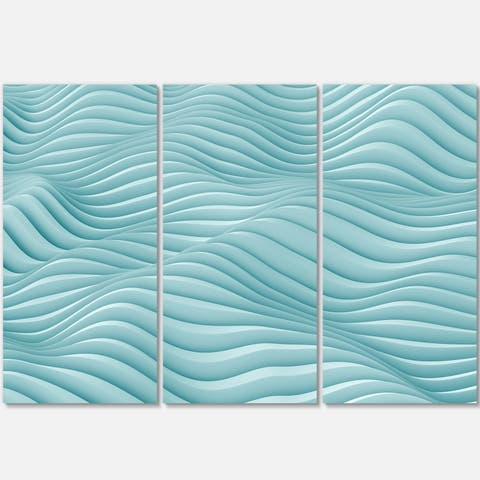 Fractal Rippled Blue 3D Waves - Abstract Art Glossy Metal Wall Art - 36 in. wide x 28 in. high - 3 panels