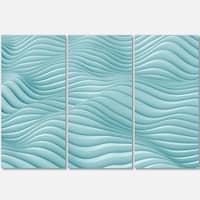 Fractal Rippled Blue 3D Waves - Abstract Art Glossy Metal Wall Art