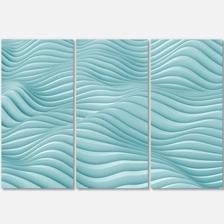 Fractal Rippled Blue 3D Waves - Abstract Art Glossy Metal Wall Art
