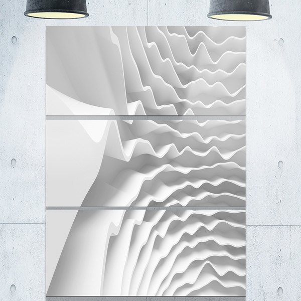 Fractal Curved White Waves Abstract Art Glossy Metal Wall