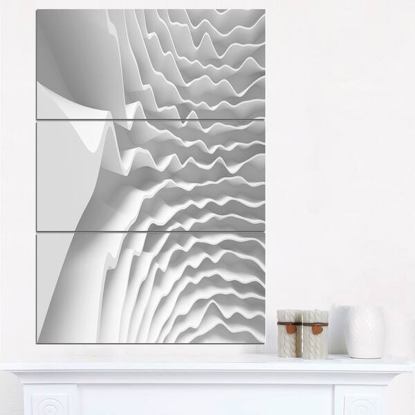 Fractal Curved White Waves Abstract Art Glossy
