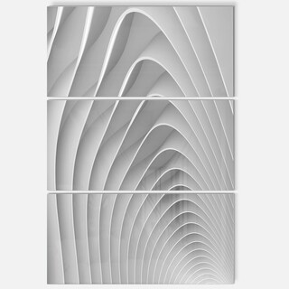 Fractal Bulgy White 3D Waves - Abstract Art Glossy Metal Wall Art
