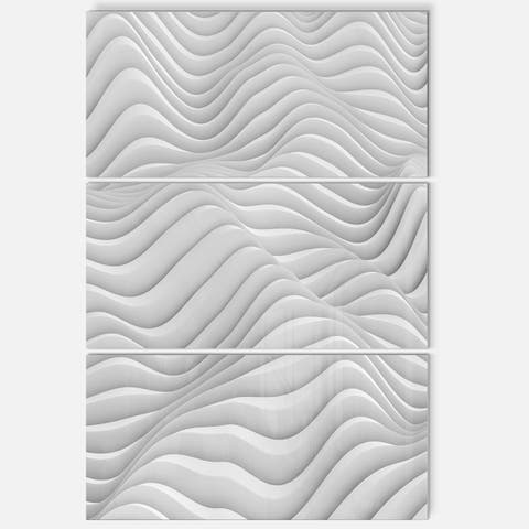 Fractal Rippled White 3D Waves - Abstract Art Glossy Metal Wall Art - 28 in. wide x 36 in. high - 3 panels