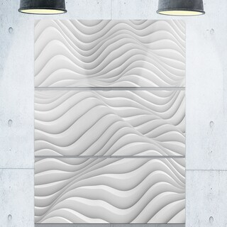 Fractal Rippled White 3D Waves - Abstract Art Glossy Metal Wall Art
