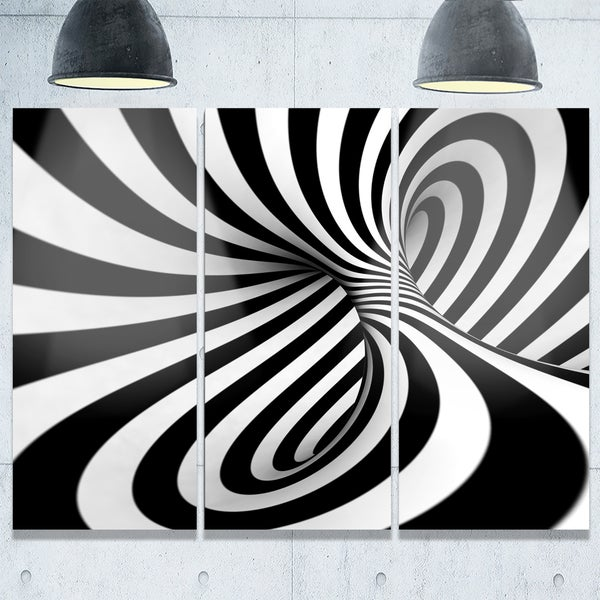 Spiral black n white abstract art glossy metal