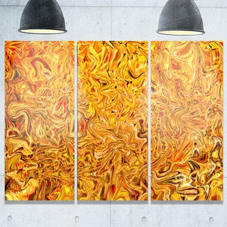 Textured Flowing Yellow - Abstract Art Glossy Metal Wall Art