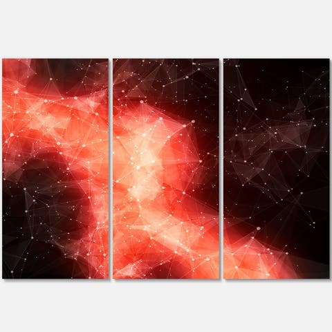 Red Nebula in Cosmos - Abstract Art Glossy Metal Wall Art - 36 in. wide x 28 in. high - 3 panels