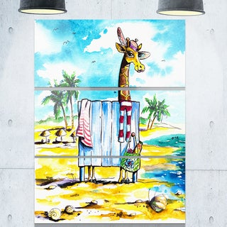 Designart - Giraffe in Dressing Room on Beach - Cartoon Animal Glossy Metal Wall Art