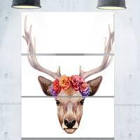 Designart - Deer Portrait with Floral Head - Deer Glossy Metal Wall Art