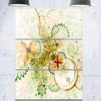 Yellow Green Grungy Floral Shapes - Large Floral Glossy Metal Wall Art