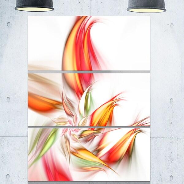 Orange Pink Fractal Floral Shapes - Large Floral Glossy Metal Wall Art