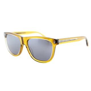 Alexander McQueen AM 0023S 005 Dark Yellow Rectangle Silver Mirror Lens Sunglasses