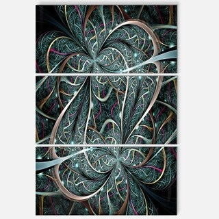 Dark Green Purple Digital Art Fractal Flower - Large Floral Glossy Metal Wall Art