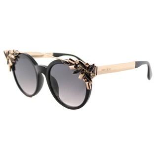 Jimmy Choo Vivy 06K Black Plastic Round Grey Gradient Lens Sunglasses