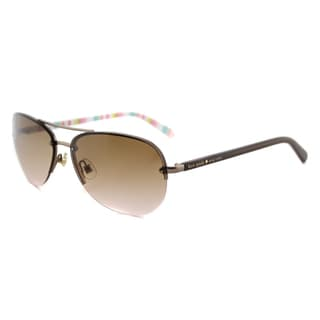 Kate Spade KS Beryl RUG Brown Metal Pink Gradient Lens Aviator Sunglasses