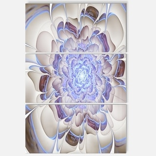 Fractal Flower in Light Blue Digital Art - Large Floral Glossy Metal Wall Art
