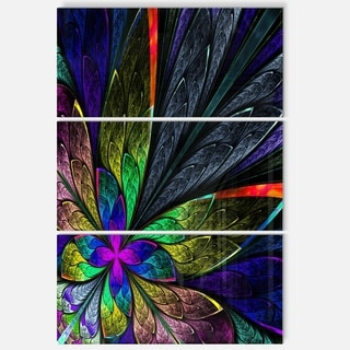 Multi Color Fractal Flower Pattern - Large Floral Glossy Metal Wall Art