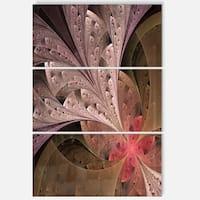 Beautiful Fractal Flower in Beige - Large Floral Glossy Metal Wall Art
