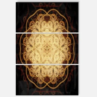 Rounded Brown Fractal Flower - Floral Glossy Metal Wall Art
