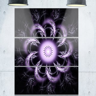 Rounded Light Purple Fractal Flower - Modern Floral Glossy Metal Wall Art