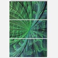 Symmetrical Soft Green Fractal Flower - Modern Floral Glossy Metal Wall Art