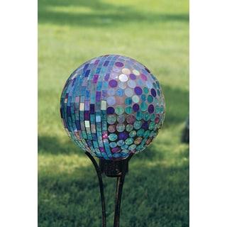 Carson Home Accents Art Glass Garden 10-inch Aqua Iridescence Hand-painted Mosaic Glass Gazing Ball
