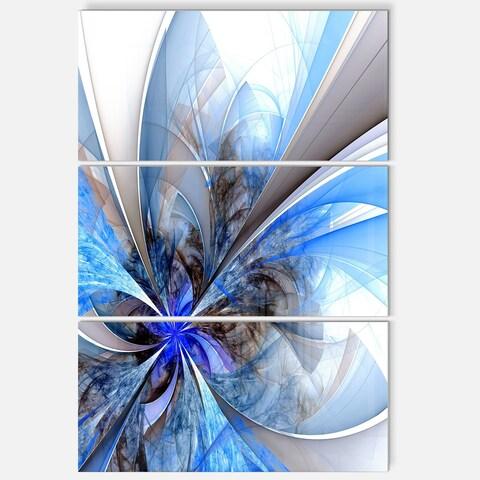 Symmetrical Large Blue Fractal Flower - Floral Glossy Metal Wall Art