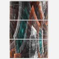 Brown Psychedelic Fractal Metal Grid Art - Abstract Glossy Metal Wall Art