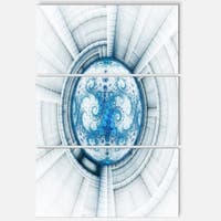 Glowing Soft Blue Fractal Flower - Large Abstract Glossy Metal Wall Art