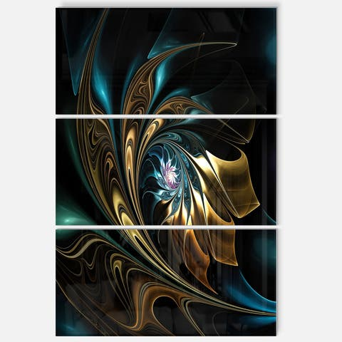 Brown Blue Fractal Flower in Black - Oversized Abstract Glossy Metal Wall Art - 28 in. wide x 36 in. high - 3 panels