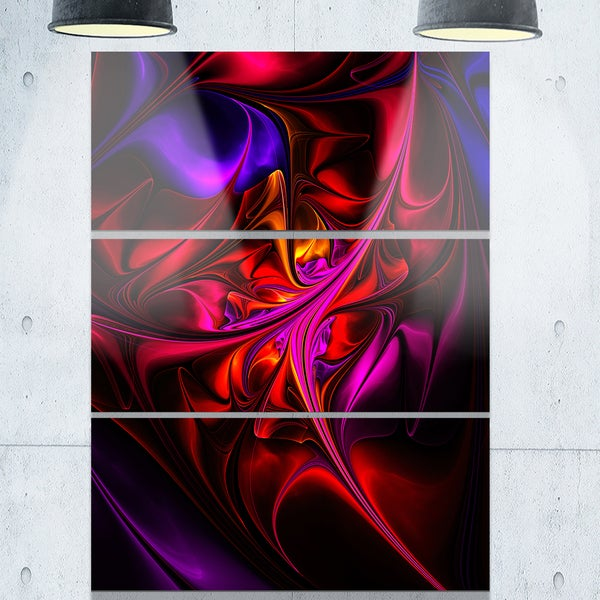 Multi-Colored Magenta Stained Glass - Floral Glossy Metal Wall Art