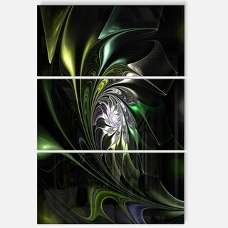 Multi-Colored Green Stained Glass - Floral Glossy Metal Wall Art