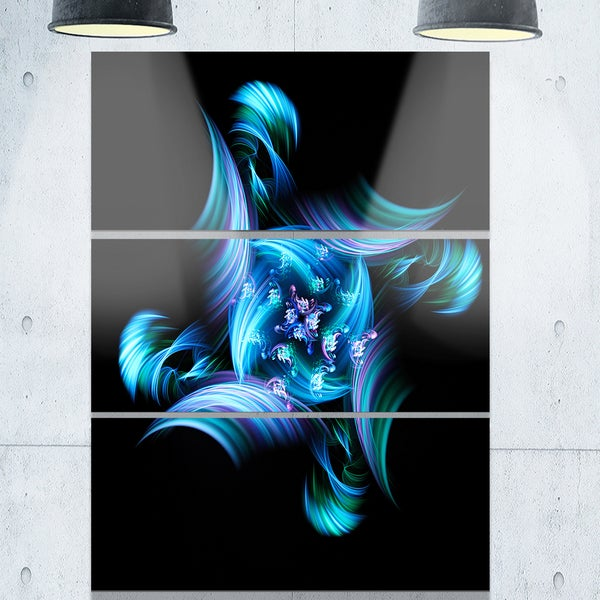 Multi-Colored Blue Stained Glass - Floral Glossy Metal Wall Art