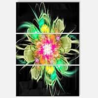 Ideal Fractal Flower Digital Art in Green - Floral Glossy Metal Wall Art