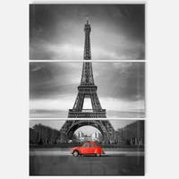 Eiffel and Old Red Car - Landscape Art Glossy Metal Wall Art - 36Wx28H