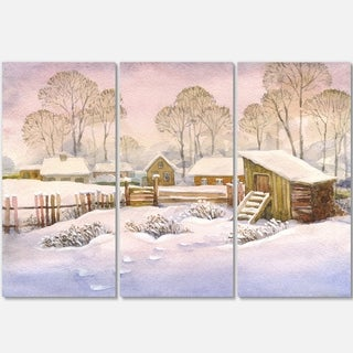 Old Winter Village - Landscape Watercolor Glossy Metal Wall Art - 36Wx28H