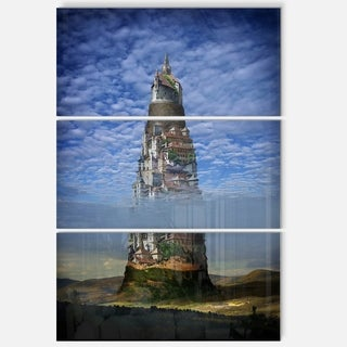 Gigantic Castle Collage - Landscape Art Glossy Metal Wall Art - 36Wx28H
