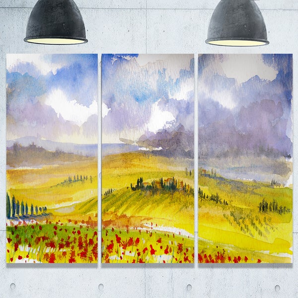 Beautiful Tuscan Hills Italy - Landscape Painting Glossy Metal Wall ...