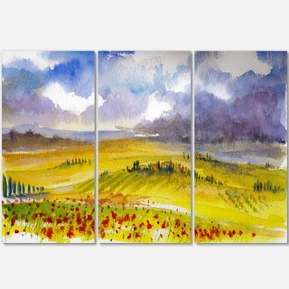 Beautiful Tuscan Hills Italy - Landscape Painting Glossy Metal Wall Art - 36Wx28H
